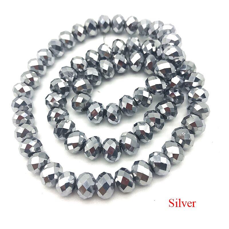 2X3/3X4/4X6/6X8 мм хрустальные бусины AB разноцветные стеклянные бусины Sapcer для ювелирных изделий ручное кольцо Ожерелье Изготовление DIY - Цвет: Silver