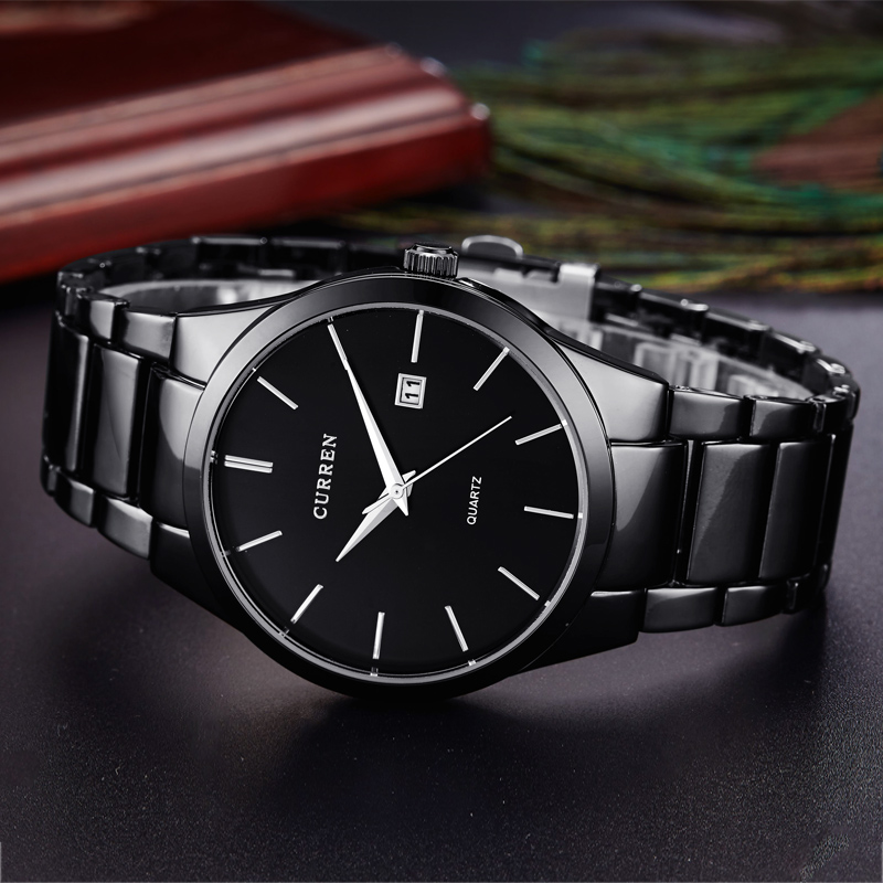CURREN Luxury Classic Fashion Business Men Watches Display Date Quartz-watch Male Wristwatch Full Steel Clock Relogio Masculino