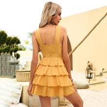 Free Shipping 2021's New Summer Deep V Sexy Slim Bright Cake Dress