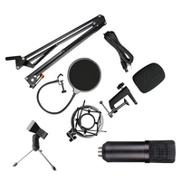 Hot TTKK USB Microphone Condenser Mic Podcast Kit for Windows/Mac with Arm Stand Tripod USB Cable and Table Mounting Clamp Kit f