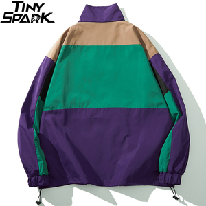 Image 2 - Men Hip Hop Streetwear Jacket Coat Retro Color Block Patchwork Harajuku Jacket Windbreaker Oversized Track Jacket Pocket Autumn