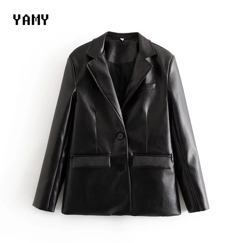 New Winter Womens Causal PU Blazer Long Sleeve Womens Jacket And Coat Office Lady Leather Blazer Single Breasted PU Blazer Black