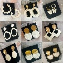 Fashion Statement Earrings Simple White Resin Metal Stud Earrings For Women Trend Gold Geometric Hanging Earrings Female Jewelry