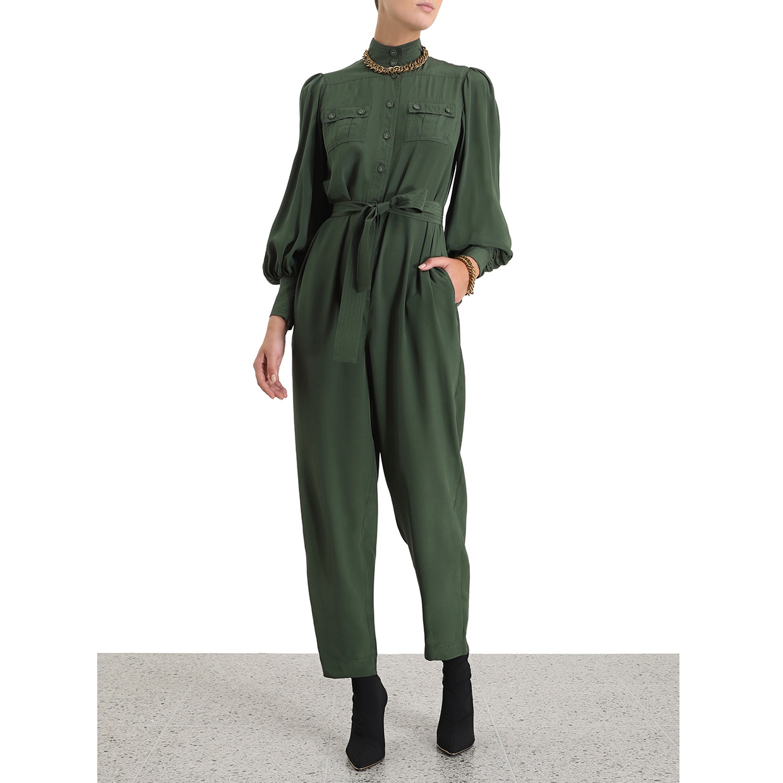 أزياء المرأة بذلة طويلة الأكمام واحدة قطعة السراويل وسيم الجيش الأخضر الشارع واحدة قطعة السراويل التجسس الحرير boilersuit-في أفرول من ملابس نسائية على  مجموعة 1
