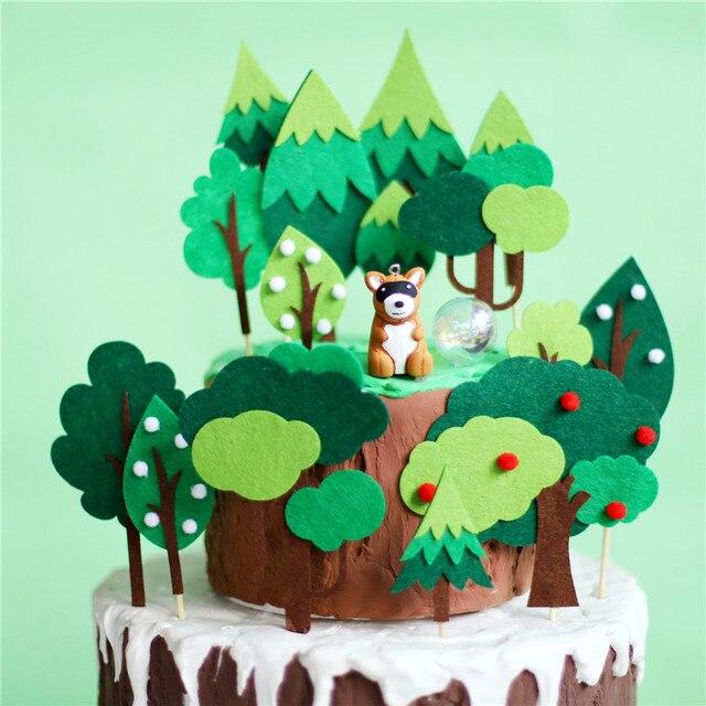 Lew w stylu kreskówki słoń Panda ciasto wykaszarki gliny zwierzęta czuł drzewo urodziny ciasto wystrój zwierzę z dżungli zaopatrzenie firm dzieci dobrodziejstw