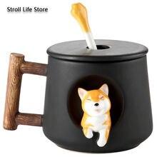 Креативная керамическая кофейная чашка для собак с крышкой ложка
