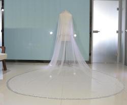 4M Real Afbeelding Bling Bling Kraal Twee Lagen Bridal Veils Luxe Hoge Kwaliteit Strass Lange Bruiloft Sluier Met Kam