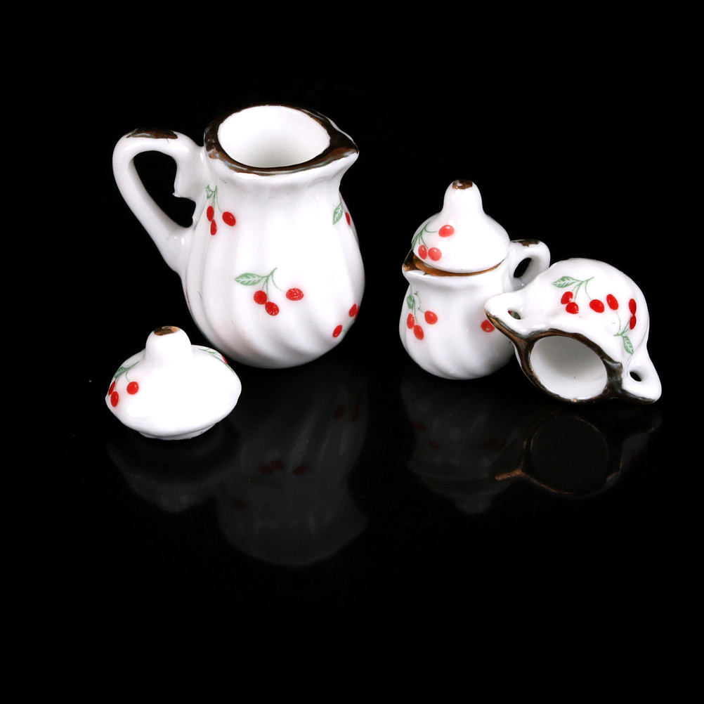 3pcs Cute Dollhouse Miniature Dining Ware Porcelain Tea Set Dish Cup Kitchen Toys