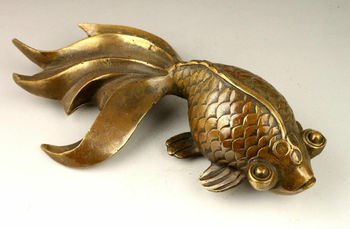 Collectable Handwork Decoration Old Copper Lovely Goldfish Statue Blessing Fish Animal Statue