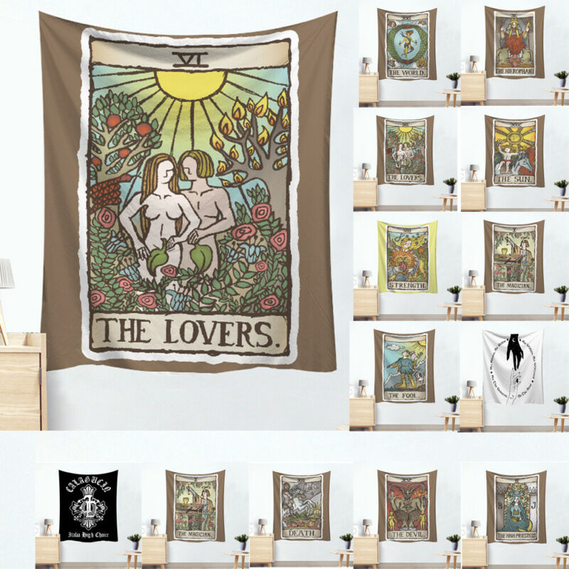 Tarot Card Cotton Wall Hanging Poster Tapestry Hippie Bohemian Boho Mandala The Lovers Tarot Tapestry Gothic Art Wall Hanging