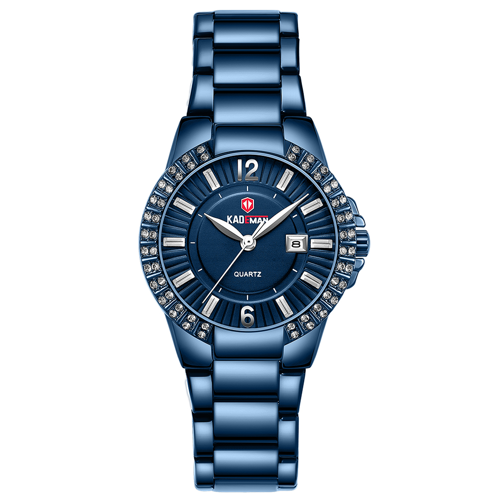 Top Luxury Brand Kademan Ladies Wrist Watches For Women Calendar Fashion Crystals Rhinestone Waterproof Wristwatch Relogio 826