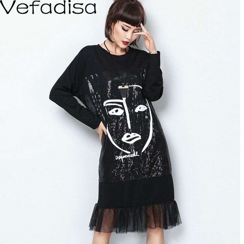 Vefadisa Black Sequin Mermaid Dress Character Print Women Dress 2020 Autumn Knee-Length Mesh Patchwork Women Dress Loose QYF3376