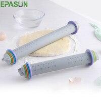 EPASUN антипригарная Скалка силиконовая помадка тиснение помадка масштаб регулируемый торт Тесто Ролик оборудование для выпечки инструмент