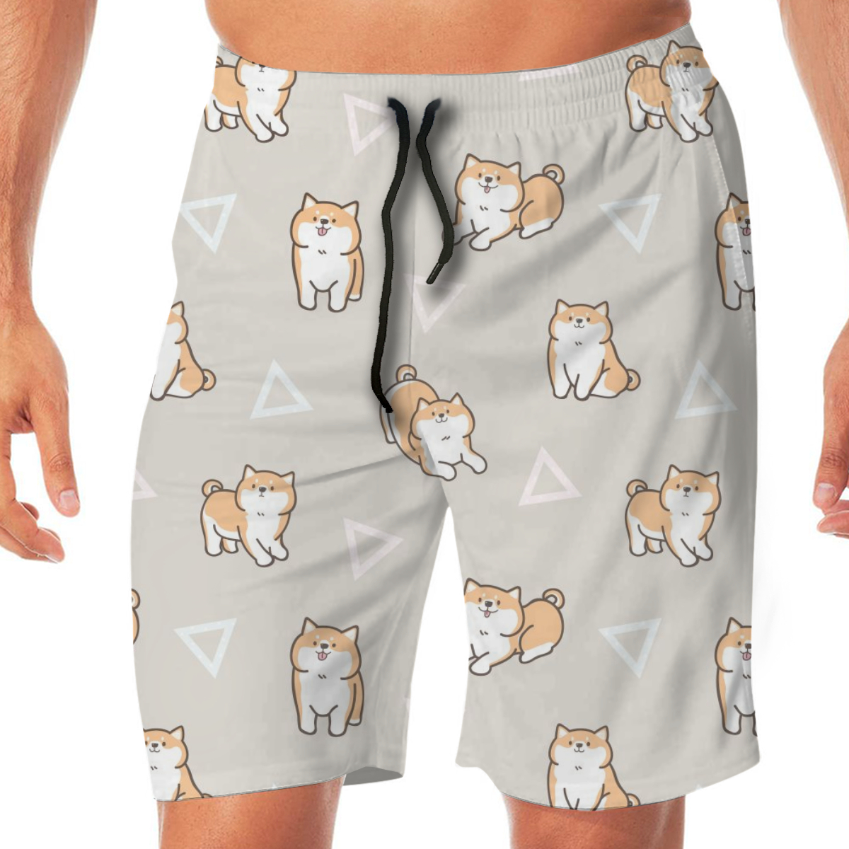 Cartoon Shiba Dog Geometric Triangles Mens Swimsuit Swimwear Men Swimming Shorts Beach Short Sports Suits Surf Board Swim Trunks