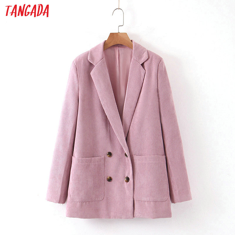 Tangada Women Pink Casual Blazer Long Sleeve Ladies Coat Female Pockets Buttons Ladies High Street Blazer Suit SL179