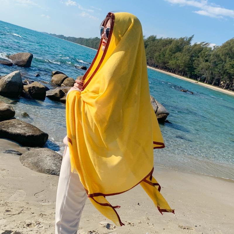 Brand 2020 Cotton Scarf Solid For Women Long Size Pashmina Lady Shawl Female Wraps Bandana Foulard Hijabs Soft Beach Stoles