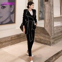 2019 new Korean version of the temperament slim belt waist suit jacket + fashion pants suit two-piece
