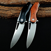 EDC Outdoor Tool Ball Bearing Folding Knife Wooden handle D2 Blade Flipper Tactical Pocket Knives Camping Hunting Survival Knife стоимость