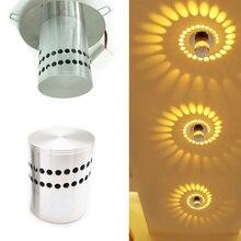 Dropshipping 50pcs/lot Spiral Hole Wall Lamp Surface Install LED Light 7 colors Luminaire KTV Home Decor night light 3W 85-265V