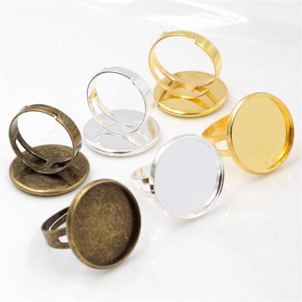 20mm 10pcs Light Silver Color Bronze And Gold Color Brass Adjustable Ring Settings Blank/Base,Fit 20mm Round Glass Cabochons