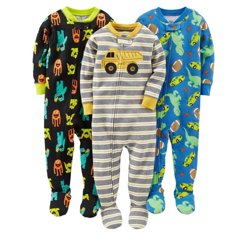 Warm summer cotton jumpsuit romper thread tight bodysuit pajamas boys and girls baby zipper bag feet robe 6