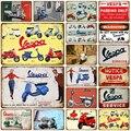 Vespa GTS украшение для мотоцикла, паба, бара, жестяной знак, потертый шик, домашний декор, табличка, металлический знак, настенный постер, винтаж...