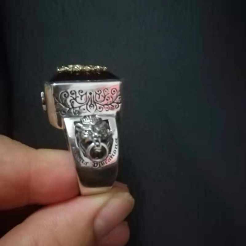 S925 เงิน Rastavibrations ชาย lion อัญมณีบริสุทธิ์เงินไทยดัชนีนิ้วมือแหวนแฟชั่นแหวนเงิน