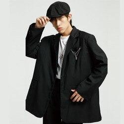 Мужской повседневный свободный костюм с цепочкой, пиджак, Мужская винтажная модная уличная одежда в стиле хип-хоп, свободный костюм, куртка,...