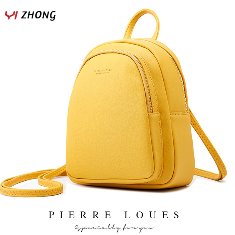 YIZHONG Leather Mini Backpack MultiFunction Small Backpack Purse Designer Famous Brand Women Bags Simple Shoulder Bag Mochila