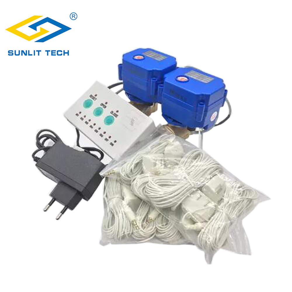 Russian Shipping Water Leakage Sensor Alarm With 2pcs DN15 Valve For Smart Home Water Flood Overflow Protection Against Leaking