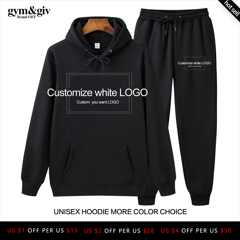 Hot Two Pieces Set Fashion Hooded Sweatshirt Customize Black White LOGO Men's Sportswear Hoodie Autumn Men's Hoodie + Pants Sets