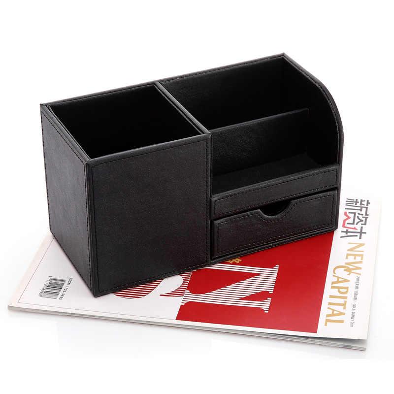 ไม้ PU หนังโต๊ะเครื่องเขียนจัดเก็บกล่องปากกากล่องดินสอกรณี