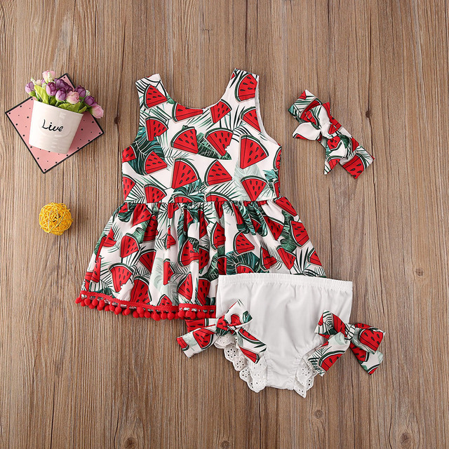 Pudcoco Toddler Baby Girl Clothes Watermelon Print Sleeveless Tassel Tops Short Pants Headband 3Pcs Outfits Cotton Clothes