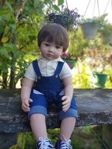 "Image 1 - 60cm Reborn Toddler Boy Doll Silicone Vinyl Limbs 24"" Cute Baby Doll Cloth Body Birthday Gift Girls Play House Boneca"