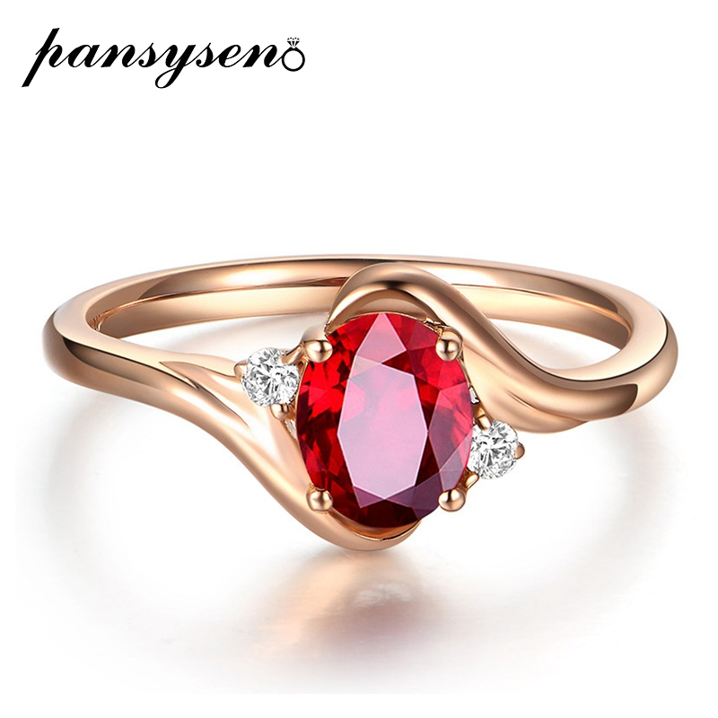 PANSYSEN Geometric Wedding Bands Ruby Gemstone Party Engagement Ring 100% Solid 925 Sterling Silver Fine Jewelry Rings for Women
