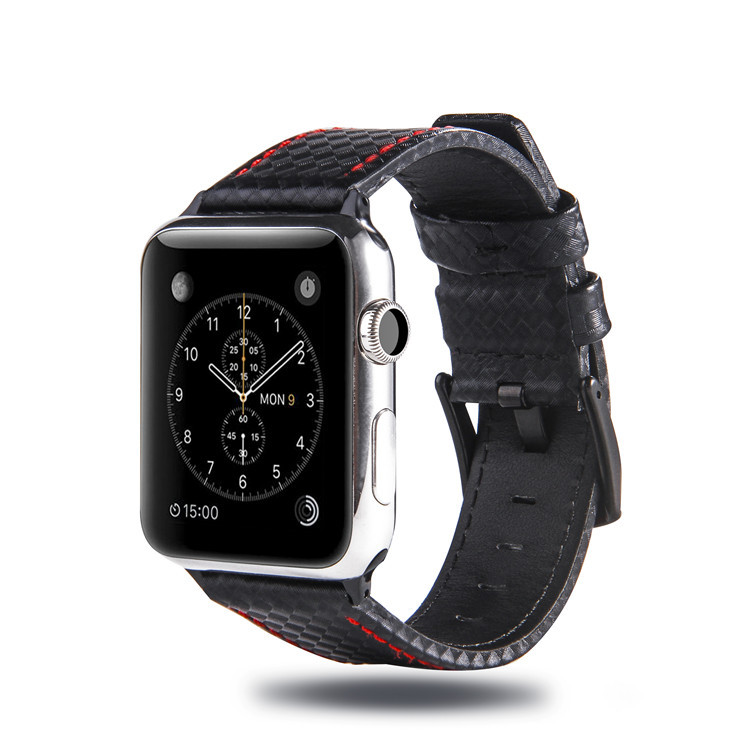 Suitable For APPLE Watch123 S (38 Mm/42 Mm) Carbon Fiber Pattern Genuine Leather Black Buckle Watch Strap