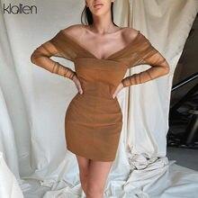 KLALIEN-Vestido corto de malla con hombros descubiertos para mujer, ropa informal con diseño de varias telas, para vacaciones y fiestas en la playa, 2020