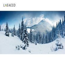Laeacco Winter Snow Mountain Pinewood Baby Children Portrait Scene Photography Backdrop Photographic Background For Photo Studio