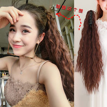 Long Afro Ponytail Synthetic Hairpiece Wrap on Clip Hair Extensions Corn Wavy Pony Tail Blonde Black Fack Hair(China)