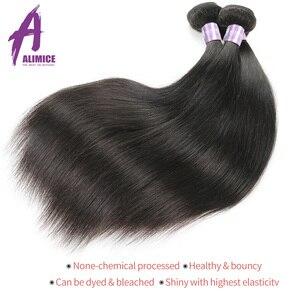 Image 4 - 8 30 Cal zestawy brazylijski pasma prostych włosów ludzkie włosy splot wiązki 3/4 sztuk Alimice długie przedłużanie włosów Remy wiązki
