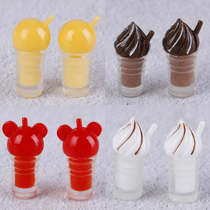 1/12 Dollhouse Miniature Resin Ice Cream Straw Cup Coffee Milk Tea Miniature Drinks Model Toy Doll Home Decoration 2Pcs