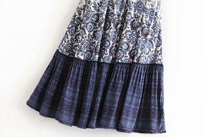 Image 3 - Boho Queens 패션 히피 여자 꽃 프린트 술 해변 보헤미안 스커트 고탄성 허리 Boho rayon Maxi skirt Femme