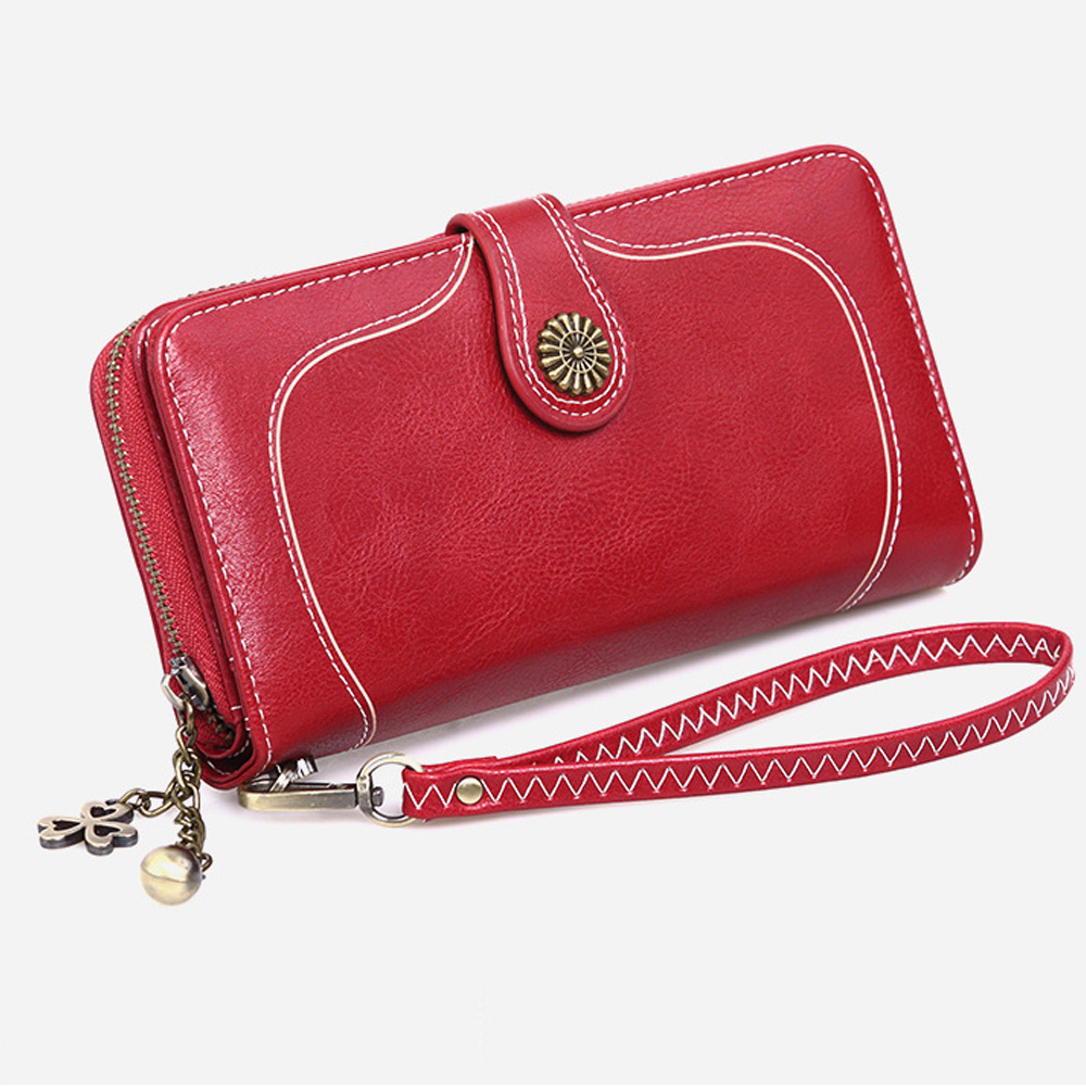 2020 Vintage Women Ladies Leather Long Wallet Zipper Purse Female Card Phone Holder Case Clutch Wallets Hand Bag