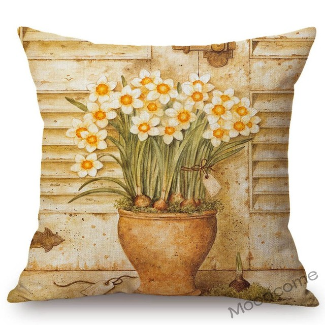 Vintage Flower Daffodil Tulip Poster Style Cotton Linen Sofa Decorative Throw Pillow Case Retro Floral Car Cushion Cover Case Cushion Cover Aliexpress