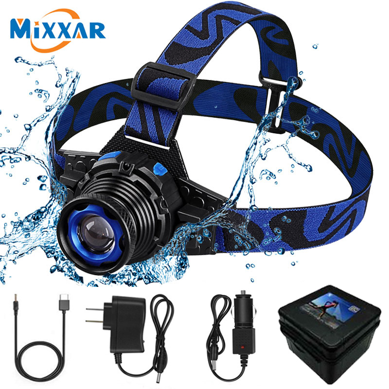 ZK20 Dropshipping LED Headlamp <font><b>10000LM</b></font> Q5 Headlight Frontal Flashlight Rechargeable Zoomable Flashlight Build-In Battery image