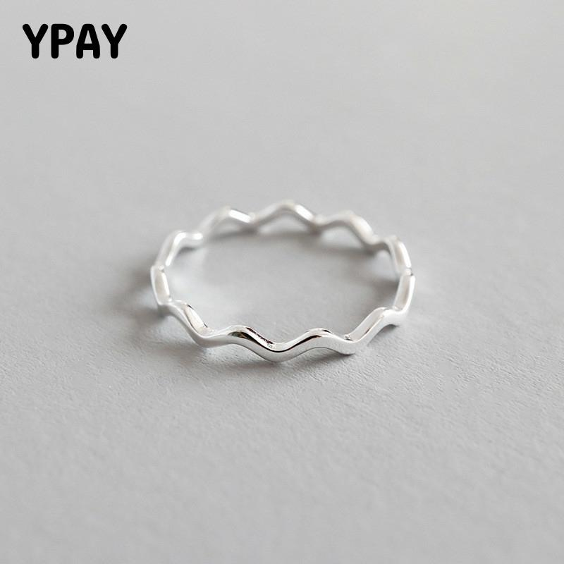 YPAY Pure 100% 925 Sterling Silver Finger Rings for Girls Ladies Simple Thin Line Curve Wave Wild Smooth Ring Jewelry YMR538