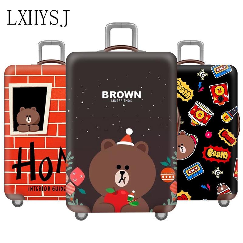 Чехол для багажа с рисунком медведя, эластичные Защитные чехлы для багажа, 18-32 дюйма, аксессуары для путешествий, уплотненный чехол на
