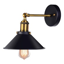 European style  Black Color Loft Industrial Wall Lamps Vintage Bedside Wall Light Metal Lampshade E27 Edison Bulbs 110V/220V