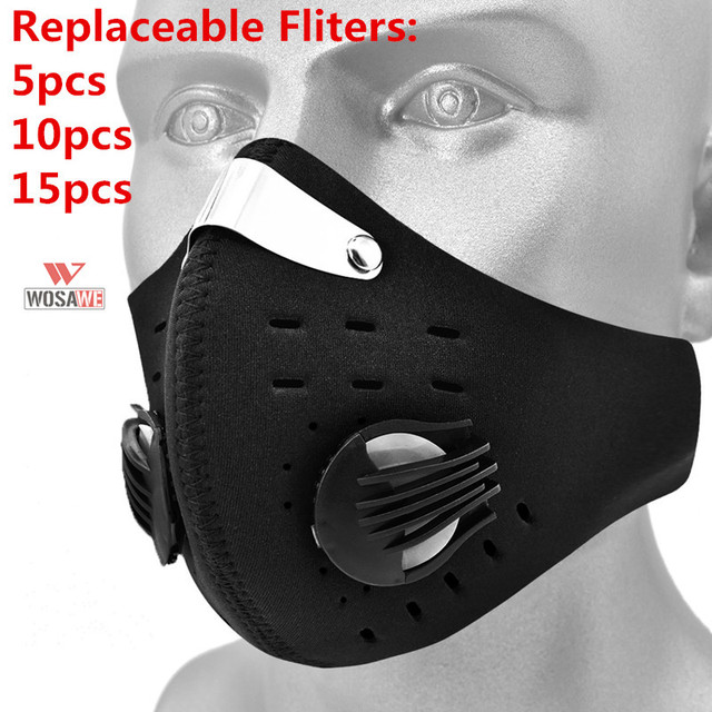 WOSAWE Motorcycle Masks Face Mask Mouth Caps Cotton Balaclava Activated Carbon Filter Dust Mask Face Shield Reusable