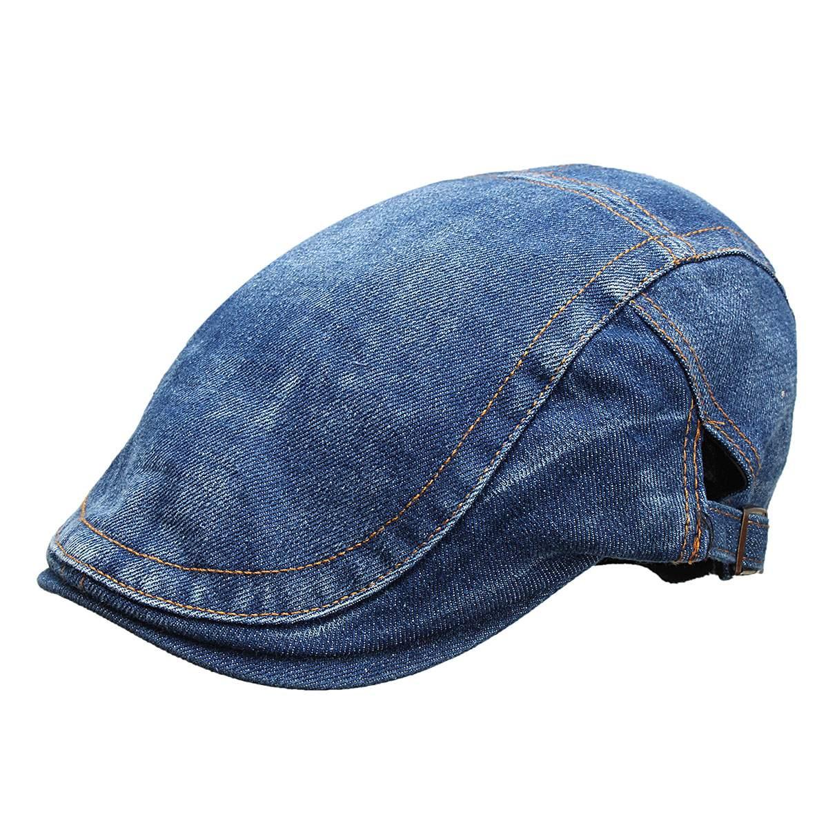 2020 Autumn Jeans Beret Hat for Men Women Casual Outdoor Unisex Denim Beret Cap Fitted Sun Flat Cap Fashion Flat Cap Dark Blue